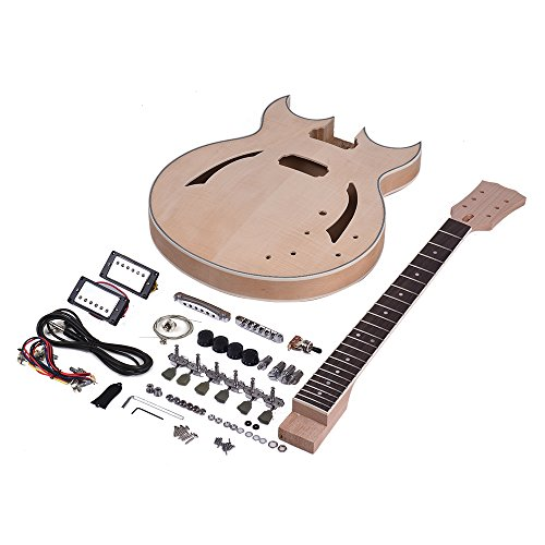 ammoon Unfinished DIY Electric Guitar Kit Set Semi Hollow Basswood Body Rosewood Fingerboard Maple Neck