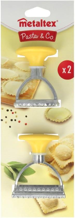 in Acciaio Inox Colore: Giallo Forma Tonda//Quadrata Metaltex Coppapasta per Ravioli 2 pz