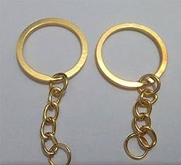YOYOSTORE 50pc Diy Golden Flat Round 24mm Split Key Ring Keychain W/attached Extend Chain Metal Loop Holder Edged Split Key Chain Ring Connector Keychain Keyring for Car House Keys