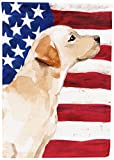 Caroline's Treasures BB9388GF Yellow Labrador #2 Patriotic Decorative Garden Flag, Multicolor For Sale