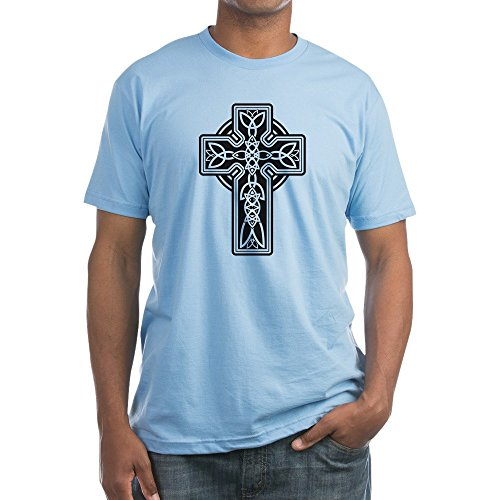 Royal Lion Fitted T-Shirt Celtic Cross - Baby Blue, 2X