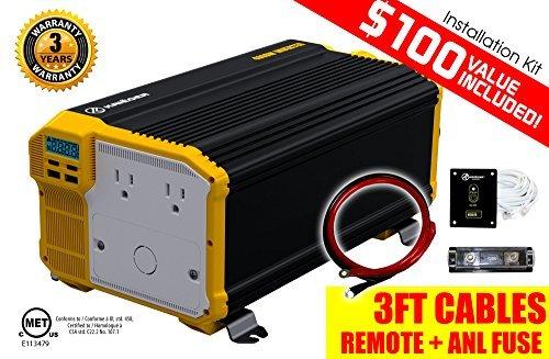 KRIËGER® Inversor de Corriente 4000 Vatios 12V KR4000 – Dos receptaculos CA 110V, kit de instalación incluido, energia...