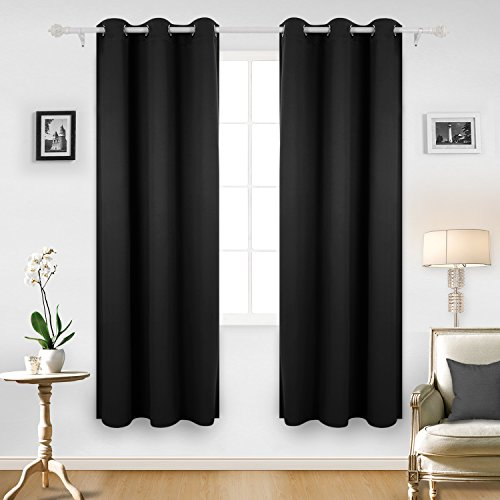 Superb Deconovo Room Darkening Thermal Insulated Blackout Grommet Window Curtain  For Bedroom, Black,42x84 Inch,1 Panel