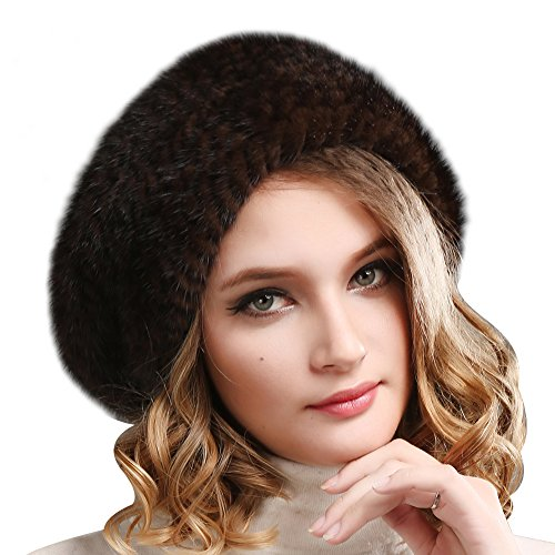 FURTALK Ladies 100% Natural Mink Beret Hat women winter fur hats mink fur beret for women (Brown)