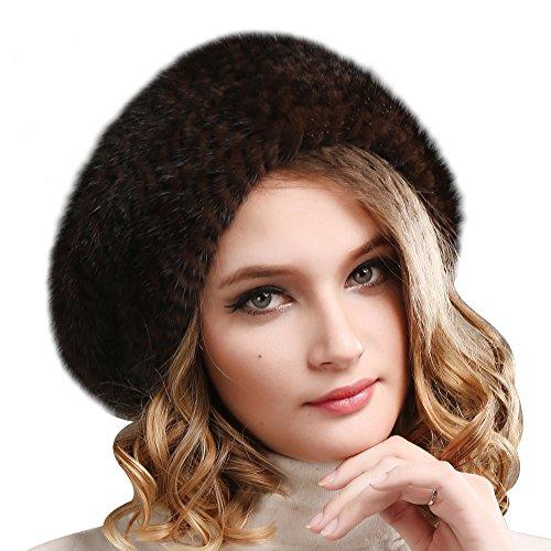 FURTALK Ladies 100% Natural Mink Beret Hat women winter fur hats mink fur beret for women (Brown)