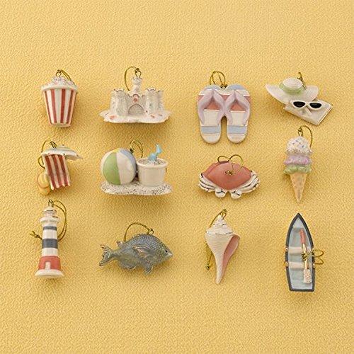Lenox Summer Miniature Tree Ornaments Set of 12 Sea Shell Fish Sand Castle Boat Beach Ball NO TREE (Lenox Sand)