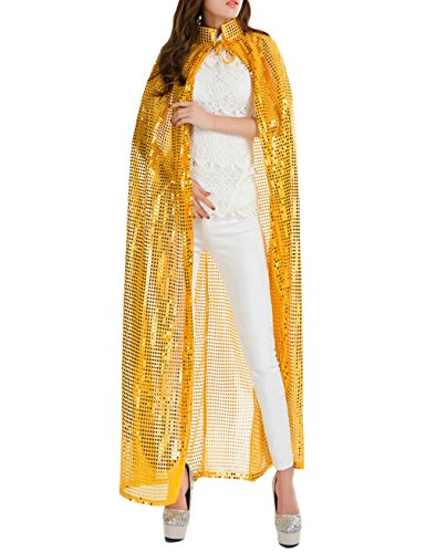 Gold Ideas Dress Costume Sequin (Gameyly Women's Bling Halloween Party Costume Sequins Cape One Size)