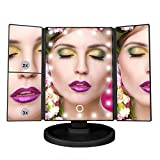 Jessie Cake - Tri Fold Makeup Vanity Mirror with 21 Adjustable LED Lights, 3x/2x Magnification, Touch Screen and 180° Adjustable Rotation, Dual Power Supply, Countertop Cosmetic Mirror (Onyx Black)