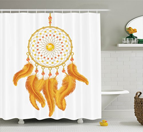 Ambesonne Native American Shower Curtain, Graphic of Golden Yellow Dreamcatcher Native Indigenous Cultural Style, Fabric Bathroom Decor Set with Hooks, 75 Inches Long, Marigold White