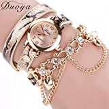 Hunputa Duoya Fashion Luxury Heart Chain Pendant Women Watches Bracelet Wristwatches (Gold)