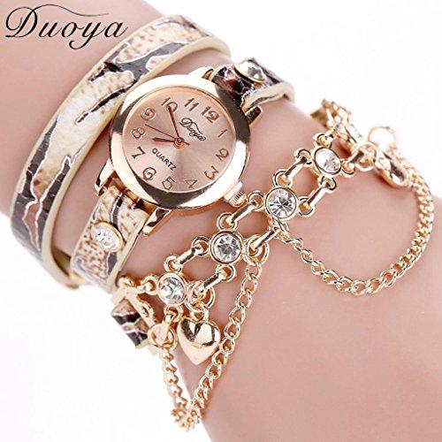 Hunputa Duoya Fashion Luxury Heart Chain Pendant Women Watches Bracelet Wristwatches (Gold)