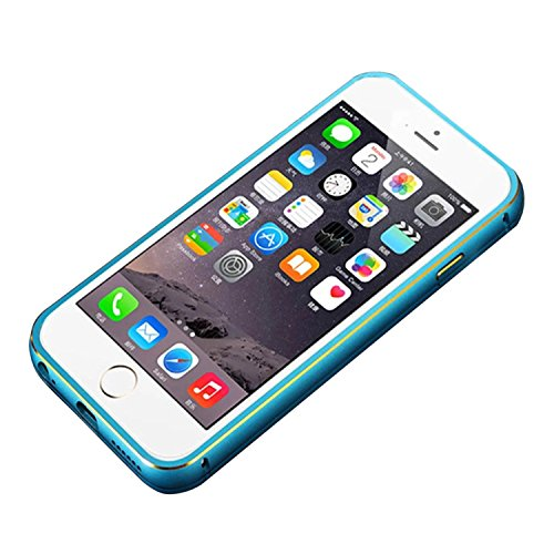 "Metall Abdeckung - TOOGOO(R)Ultraduenne Aluminium Metall Huelle fuer iPhone 6 4.7"" Blau + Transparent"