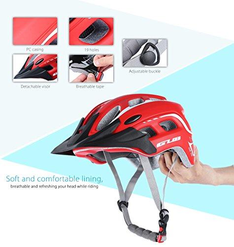 outlife Ultraleggero Unisex 55-61cm Casco Bicicletta Adulto 19 Fori con Visiera (Rosso) 5 spesavip