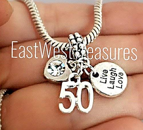 e36cb5bf2 Image Unavailable. Image not available for. Color: 50 50th birthday wedding anniversary  charm bracelet ...