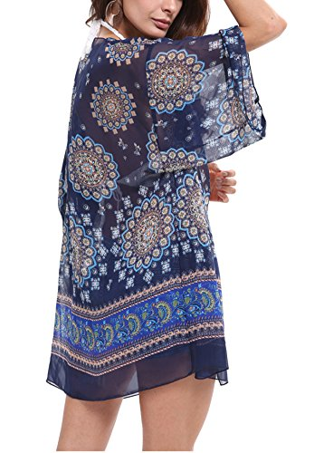 Navy Cardigan Suit (CHIC DIARY Women Bathing Suit Beach Cover up Floral Kimono Cardigan (Navy))