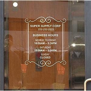Custom Store Busines Office Hours Vinyl Window Glass Door Decal Sticker