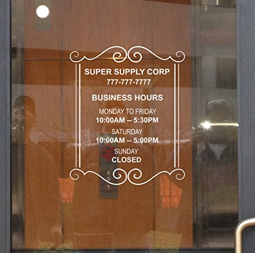 Custom Store Busines Office Hours Vinyl Window Glass Door Decal - Stores Glasses