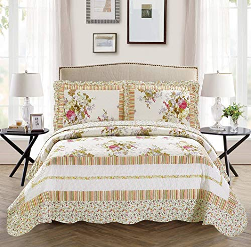 Full/Queen 3pc Over Size Quilted Bedspread Set Reversible Floral White Lavender Green Pink
