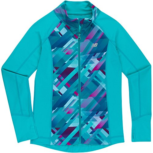 New Balance Girls' Little Athletic Full Zip Jacket, Pisces/Plaid, 6 (New Balance Plaid)