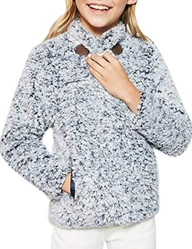 CILKOO WinterGirlsFleeceSweaterKidsLongSleevePebblePileSherpaFleeceFuzzy PulloverJacketTopsSweatshirtsCoatOuterwear with Pockets 6-7 Year Medium Blue