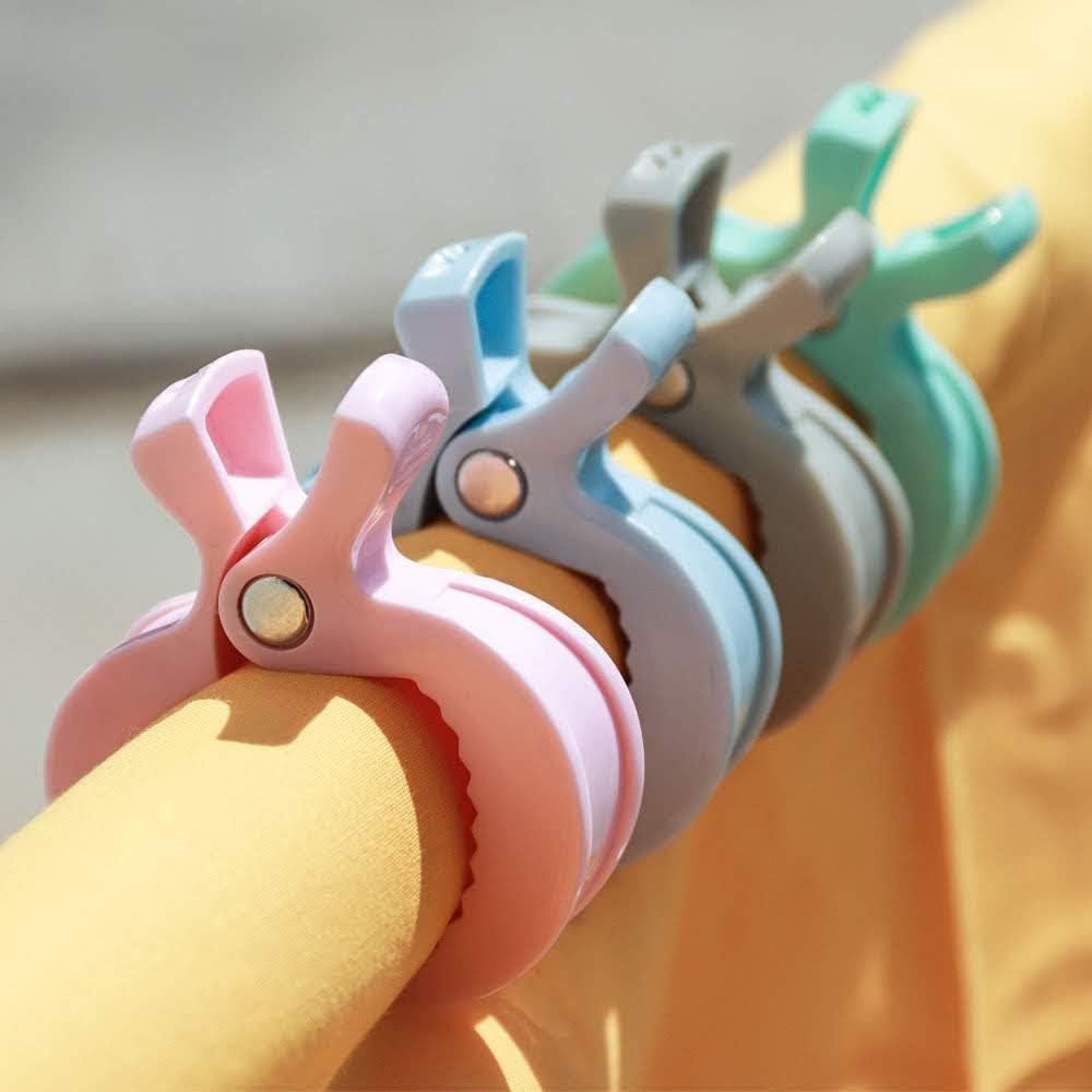 RUBY Pince Poussette B/éb/é Clips pour Si/ège Auto ou Couverture Crochets pour Poussette LAT Clips pour Mousseline et Jouets 4 Pcs Turquoise Pastel
