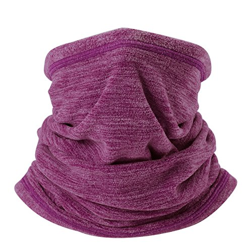 JIUSY Soft Fleece Neck Gaiter Warmer Face Mask Cover for Cold Weather Gear Winter Outdoor Sports Snowboard Skiing Cycling Motorcycle Hunting Fishing Suitable Men Women AA-C-08 Red (Cold Weather Neck Fleece)