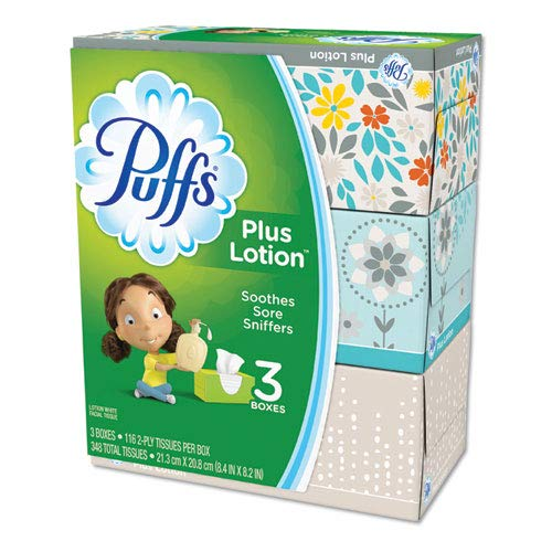 - Plus Lotion Facial Tissue, White, 2-Ply, 116/Box, 3 Boxes/Pack