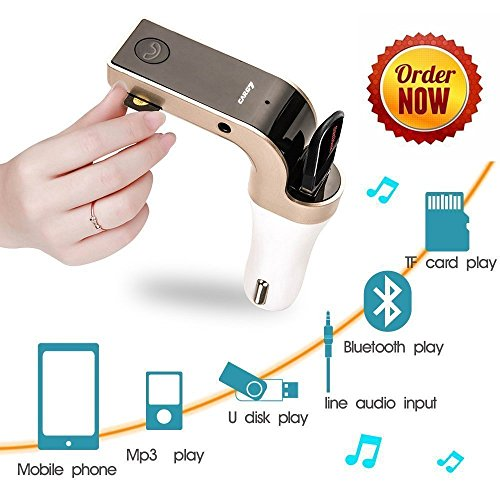 Bluetooth FM Transmitter for Car,Wireless FM Modulator Car Kit Radio USB Car Charging, Music Control and Hands-Free