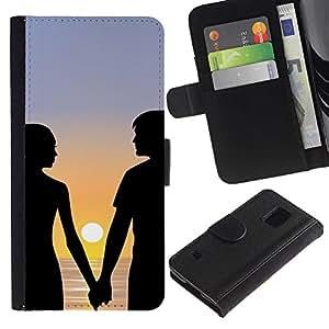 KingStore / Leather Etui en cuir / Samsung Galaxy S5 V SM-G900 / Pareja Romance Love Beach Sunset Mar Océano