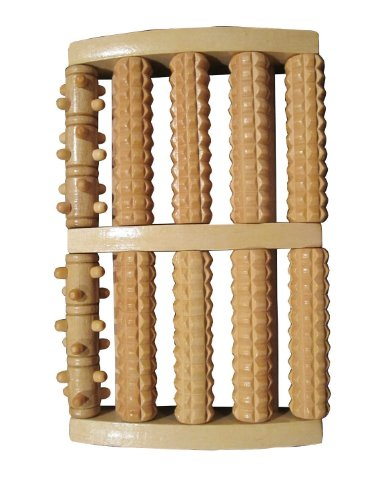 Large Dual Wooden Foot Roller Massager: Reflexology / Acupressure