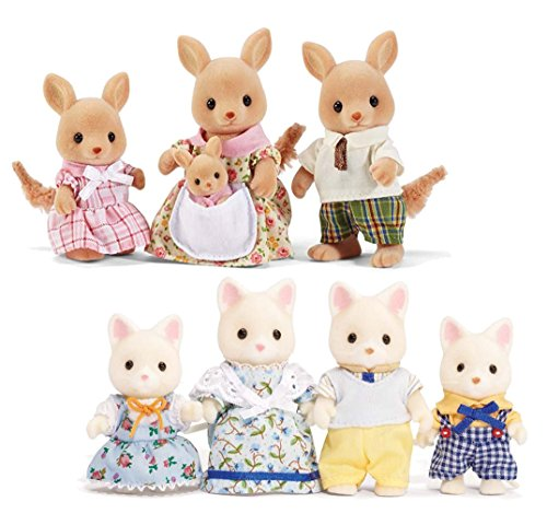 Calico Critters Silk Cat Family and Hopper Kangaroo Family Set – Bundled by Maven Gifts