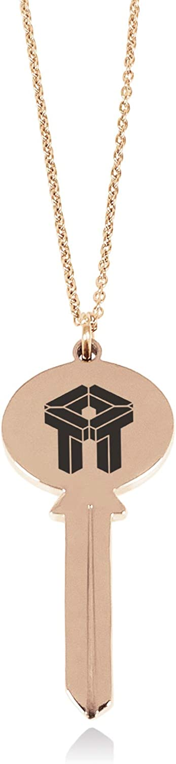 Tioneer Stainless Steel Letter T Initial 3D Cube Box Monogram Oval Head Key Charm Pendant Necklace