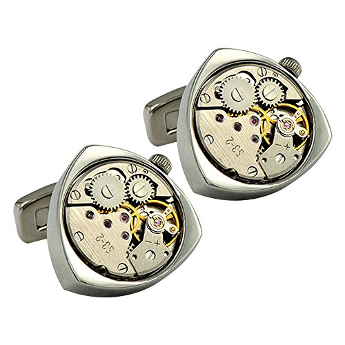 (Personality Mechanical Watch Whale Back Cufflinks Triangle Design Elegant Style for Man)