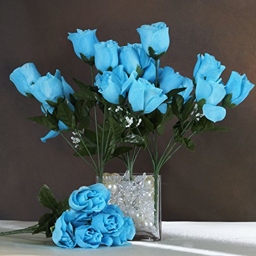 Efavormart 84 Artificial Buds Roses for DIY Wedding Bouquets Centerpieces Arrangements Party Home Decoration Supply - Turquoise -