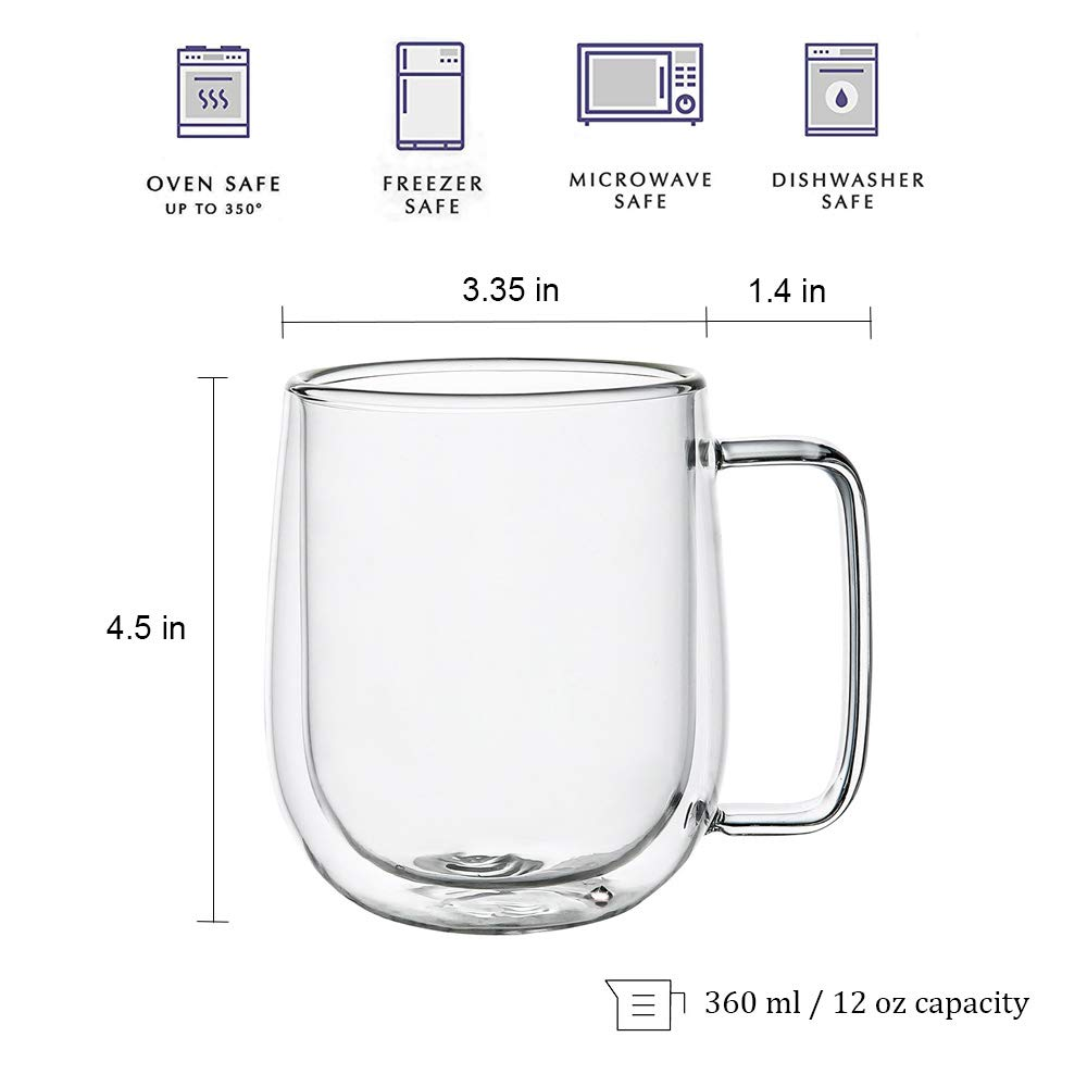 Double Wall Glass Coffee Mugs Tea Cups Set of 2, Thermal Insulated and No Condensation with Wide Handle, 12OZ (360ML) by BNUNWISH (Image #7)