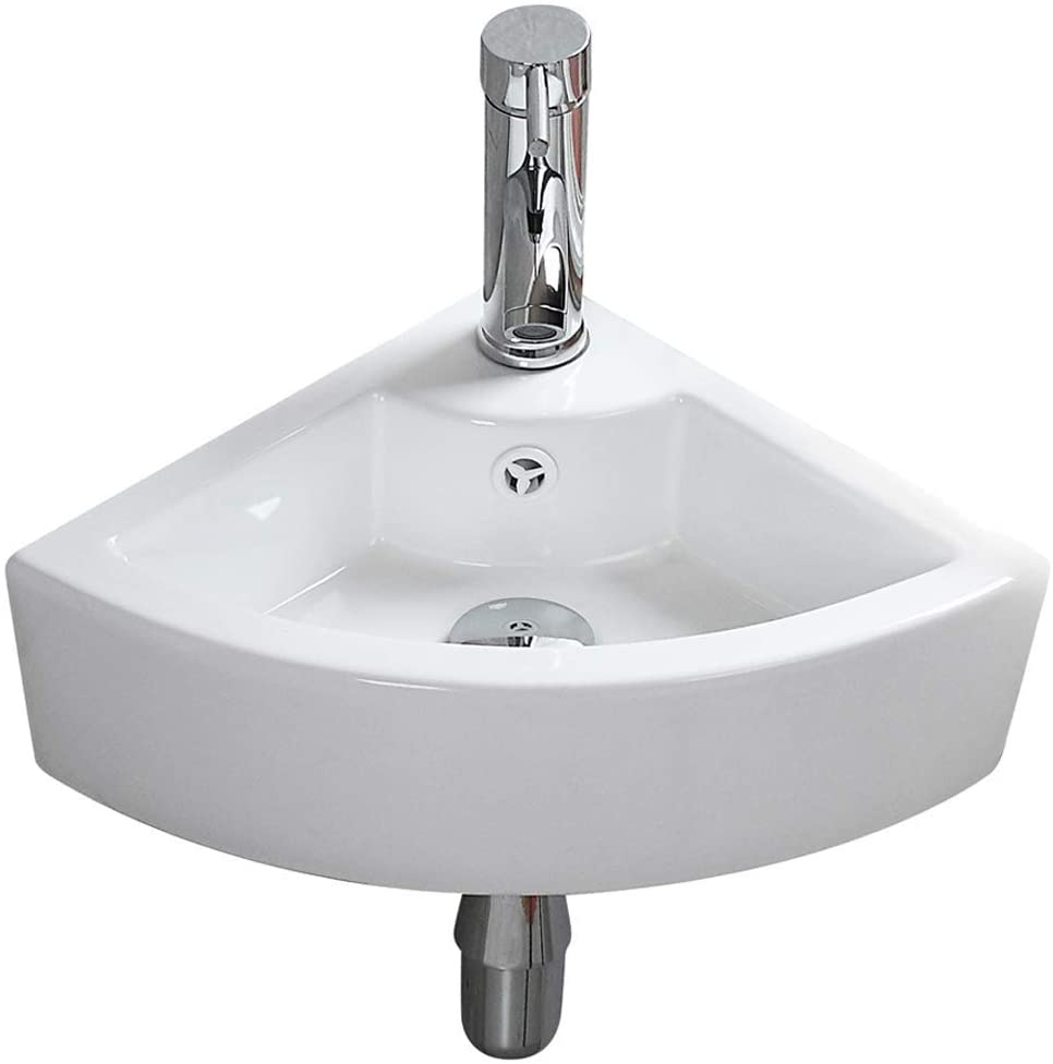 Small Bathroom Vessel Sink Triangle Wall Mount Corner Vanity Ceramic White Porcelain Hanging Art Basin With Oveflow Hole For Modern Lavatory Cloakroom Toilet 1007b Amazon Com