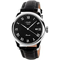 CIVO Men's Luxury Date Calendar Wrist Watches Men Casual Business Dress Waterproof Watch Simple Design Fashion Classic Analogue Quartz Watches for Men (Black)