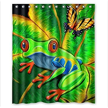 Try Everthing Funny tree frog design Graphics and More Red Eyed Tree Frog decor 100% Polyester Shower Curtain (60inhes wide x 72inhes long)