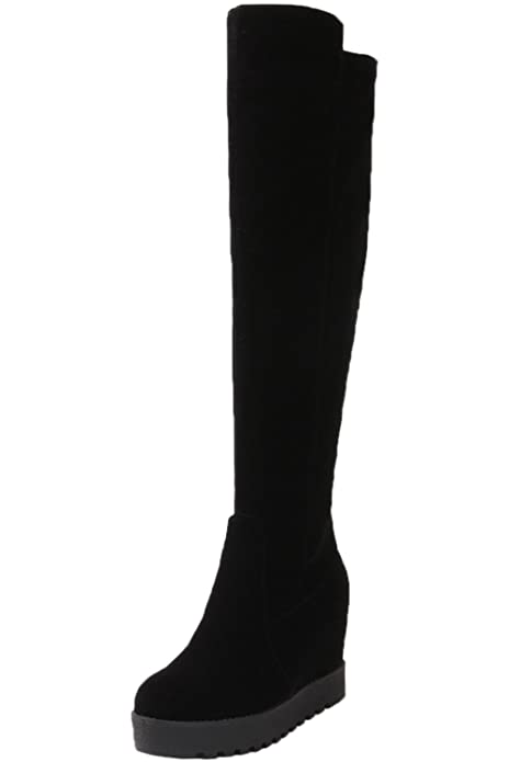 Botas altas largas Mujer Casual Negro Plataforma Caliente Piel sintética Cuña Otoño Invierno Aumento Botas altas de rodilla De BIGTREE