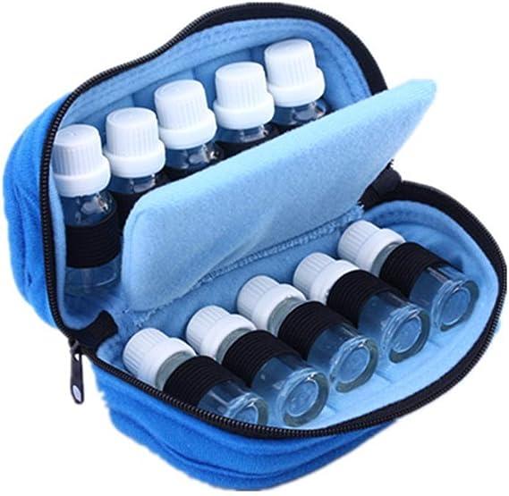 LY-YY 木製 エッセンシャルオイルの貯蔵 エッセンシャルオイル15mlのボトルのためにエッセンシャルオイルストレージボックストラベルオーガナイザーバッグスーツケース収納袋10アロマストレージボックス(色:ブルー、サイズ:18X10X7.5CM) 香りが保存される