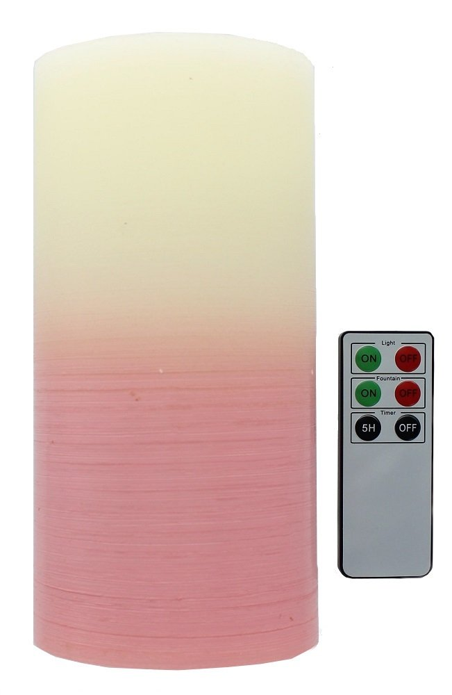 Water Wick LED Flameless Pillar Candle Fountain With Remote Control, Pastel Pink