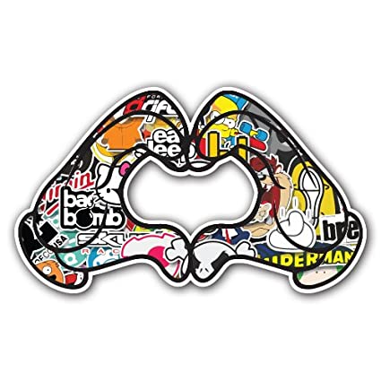 Amazon.com: Adelia Co Heart 1 Hand Sign Sticker Bomb Decal Series - Cartoon Graffiti Car Wrap Laptop JDM Skateboard Snowboard Vinyl iPad Macbook (Sticker ...
