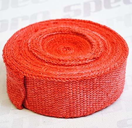 RED Titanium Car Motorcycle Exhaust Manifold Downpipe Heat Wrap Roll 10m