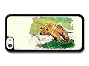 MMZ DIY PHONE CASEAMAF ? Accessories Bear Resting on a Trunk Tree Wildlife Animal Watercolour case for iphone 5c