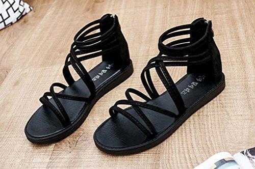 Sandalias de vestir, Ouneed ® Las mujeres señoras vendaje plano Bohemia ocio sandalias Peep-Toe zapatos Negro