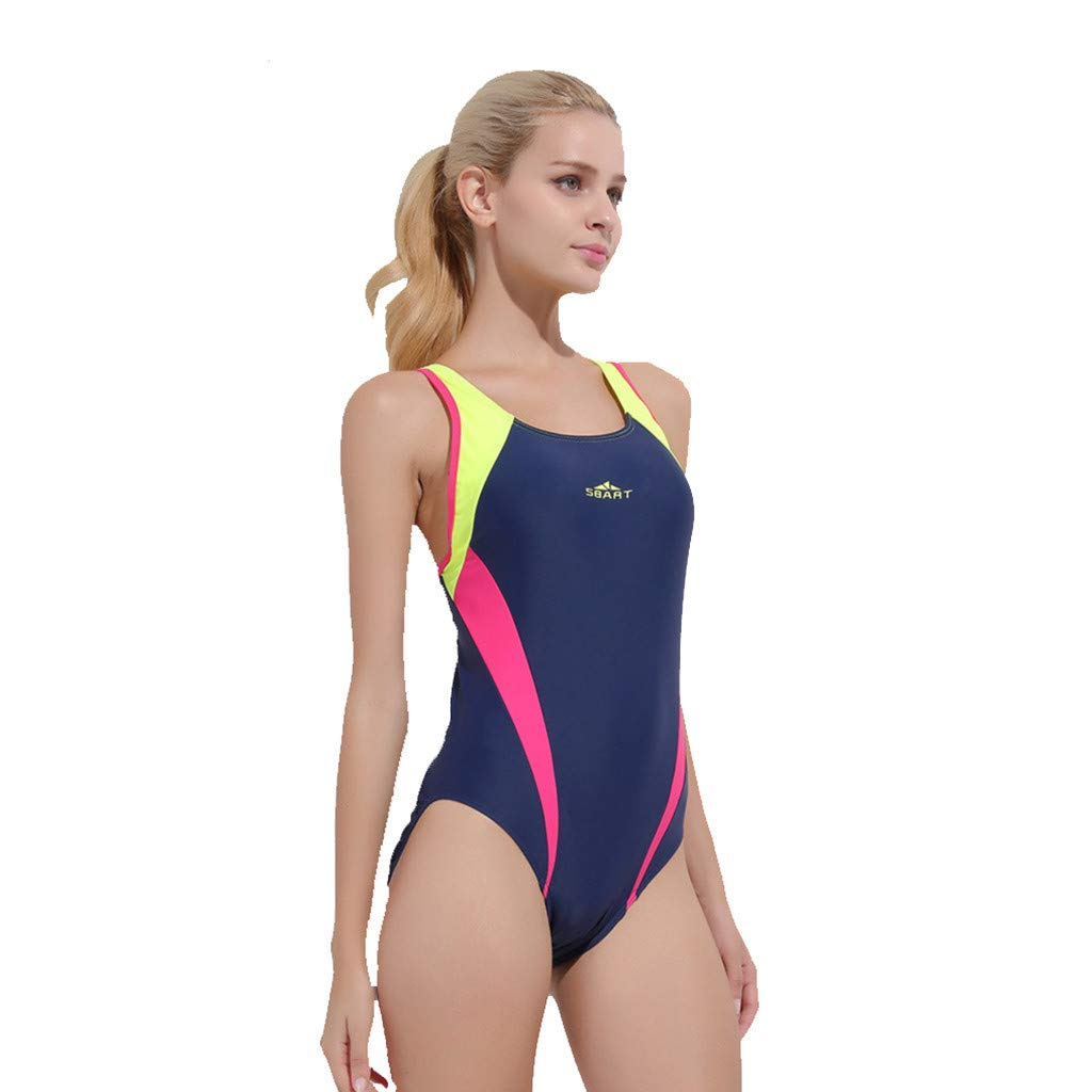 Women's Sport Racerback One Piece Swimsuit Swimwear Rash Guard Wetsuit Sports Diving Surfing Suit CapsA