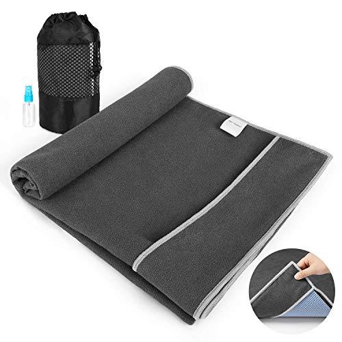 Aqui Legend Non Slip Hot Yoga Towel, Corner Pockets Design for Prevent Bunching-Extra Thick,Super Absorbent,Washable  Perfect Microfiber Yoga Mat Towel for Hot Yoga/Bikram/Pilates (Smoke Gray)