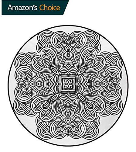 Celtic Non-Slip Area Rug Pad Round,Mediaeval Celtic Rotary Heraldic Design with Squared Shape in The Centre Retro Art Protect Floors While Securing Rug Making Vacuuming,Diameter-31 Inch