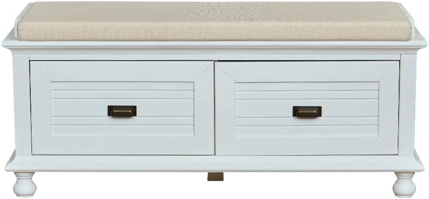 "Brand – Ravenna Home Classic Solid Pine Storage Bench, 45""W, White Wash Finish: Kitchen & Dining"