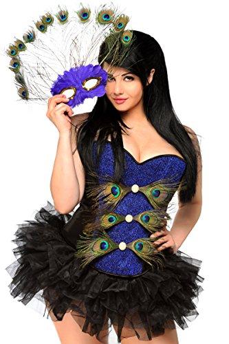 Daisy Corsets Women's 3 Piece Sexy Pretty Peacock Costume, Blue, 2X
